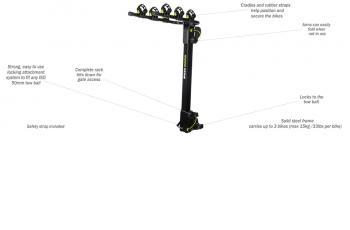 BUzz Rack MOOSE 3 – TOW BALL – 2 ARMS BIKE CARRIER